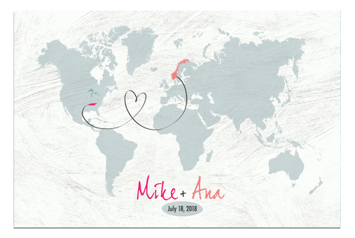 I the here and there shop gray world map custom wedding map anniversary gift custom anniversary gift travel gumiabroncs Images