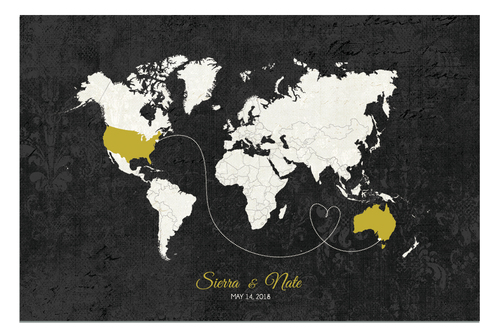 Wedding Guestbook Alternative Designs Guestbooks Wedding Decor - Black and gold world map