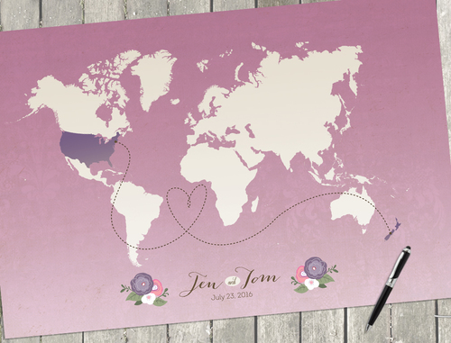 I the here and there shop pink ombre wedding decor pink ombre wedding map ombre wedding poster custom world gumiabroncs Images