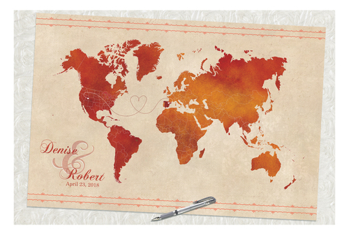 Wedding guestbook alternative designs guestbooks wedding decor wedding guest book old world red and orange map gumiabroncs Images