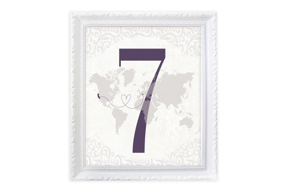 Travel themed Table numbers - We can match your custom guestbook