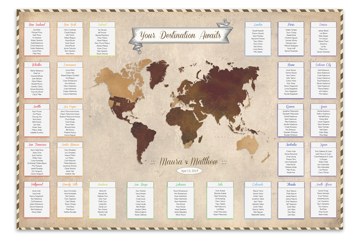 Custom Designed Seating Charts For Weddings And Any Other Event The Here And There Shop