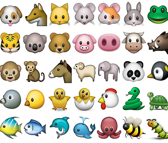 A selection of animal emojis found on most smartphones.