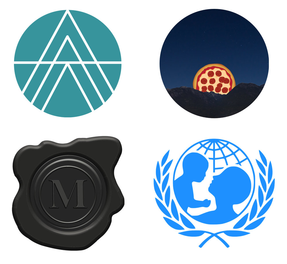 Clockwise from top left: Animal Charity Evaluators, Cheesus Crust Pizza, The Mark Newspaper, UNICEF