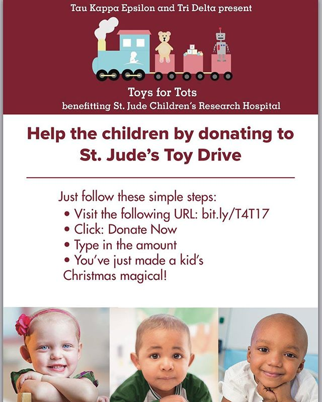 Tau Kappa Epsilon and Delta Delta Delta are coming together this Holiday season for 'Toys For Tots'. An initiative to support children by donating toys. Swing by our table at the MU (Nov 27th- Dec. 1st) to drop off donations and learn more about 'Toy For Tots'. You can also donate by going to the link in the picture.