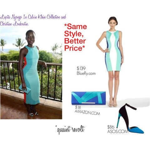 This body-con dress from Bluefly has a similar color palette and curving detail as the Calvin Klein piece, but you can get yours on sale for just $139. Amazon has your clutch covered with this beauty at a steal price of less than twenty bucks. This ASOS pump is sleek, accentuates the legs, and versatile enough to go from day to night. Purchase details are listed below.  - Sasha. Dress: HERE Bag: HERE Shoes:HERE