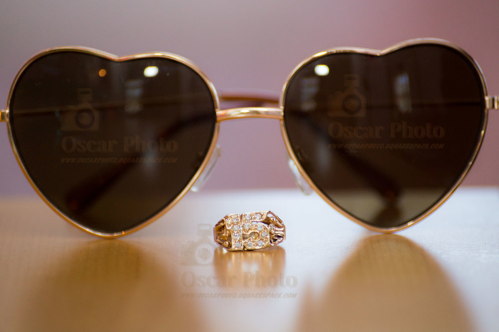 Sunglasses and a ring for a Quinceañera
