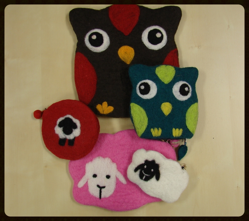 Frabjous Fibers Fair Trade Felt Zipper Pouches -- $6-$15