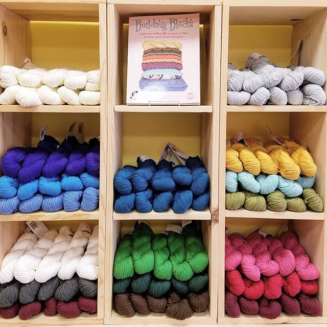 New yarn! This is Hikoo Simpliworsted, a squishy, machine-washable merino blend. Use it for projects for kiddos or those who aren't interested in handwashing their woolens. Keep an eye out for the Building Blocks KAL on our soon-to-be-announced class schedule!