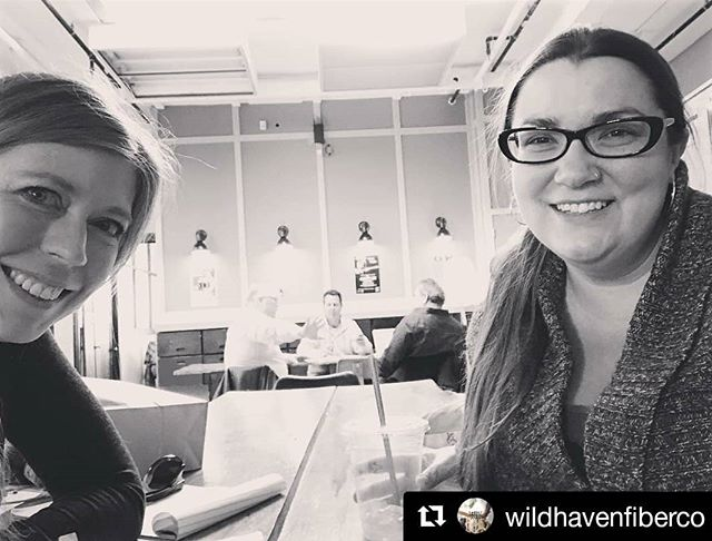 Had fun plotting with this fabulous lady today. @wildhavenfiberco ❤ Look for her amazing hand dyed yarns in the shop soon! #mkeknits #knittingfriends #indiedyer #wildhavenfiberco #woolandcottonco #conferencetable #shameless  #Repost @wildhavenfiberco ・・・ Scheming with the lovely and hilarious Anneliese from @woolandcottonco this morning! #knittingfriends #knittingfriendsarethebest #fiberfriends #lys #milwaukeeshop