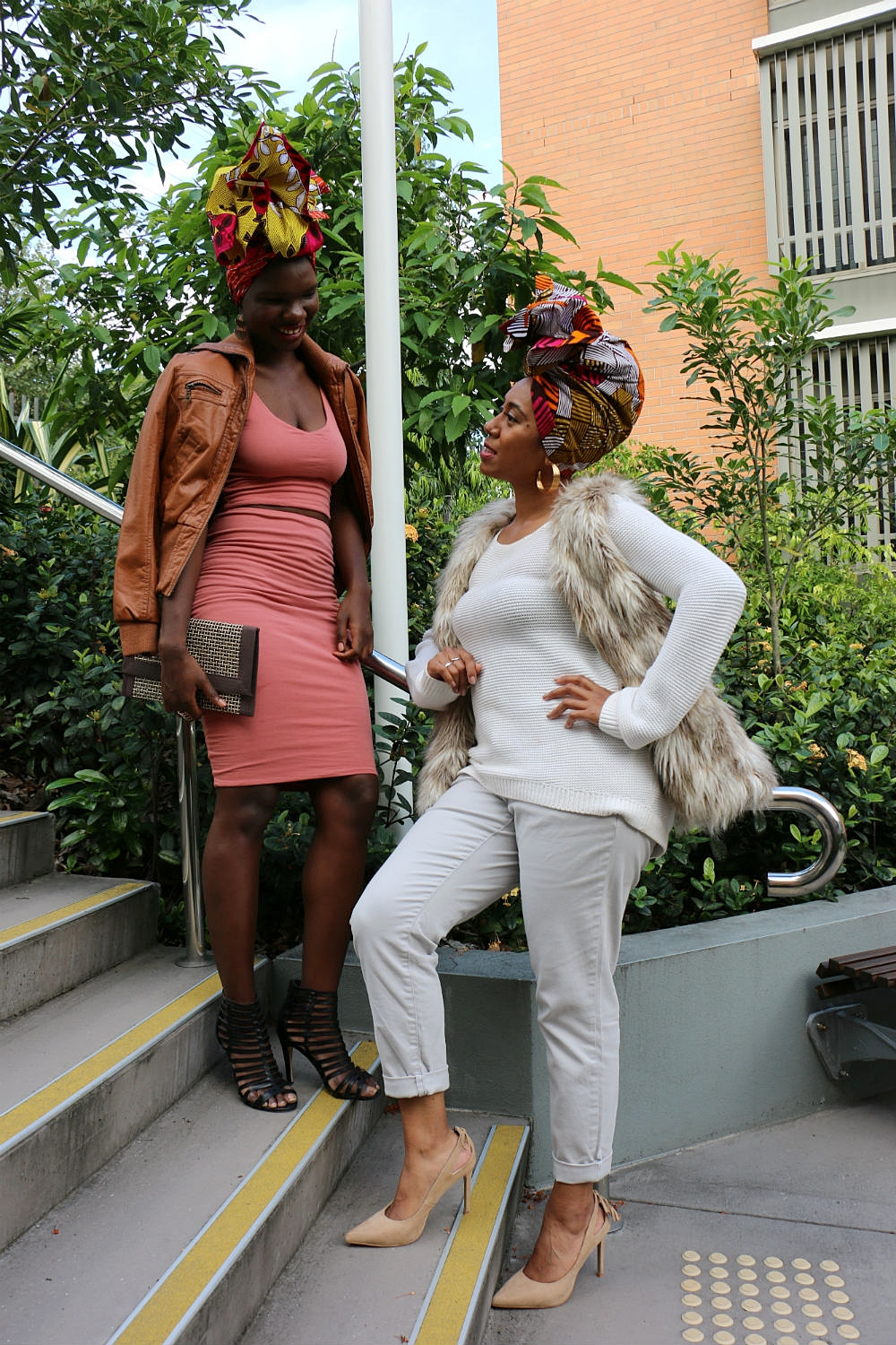 Brand ambassadors ISATA T (L) and GRACEY B (R) showcase headwraps TAMARA (L) and SHERRI (R).