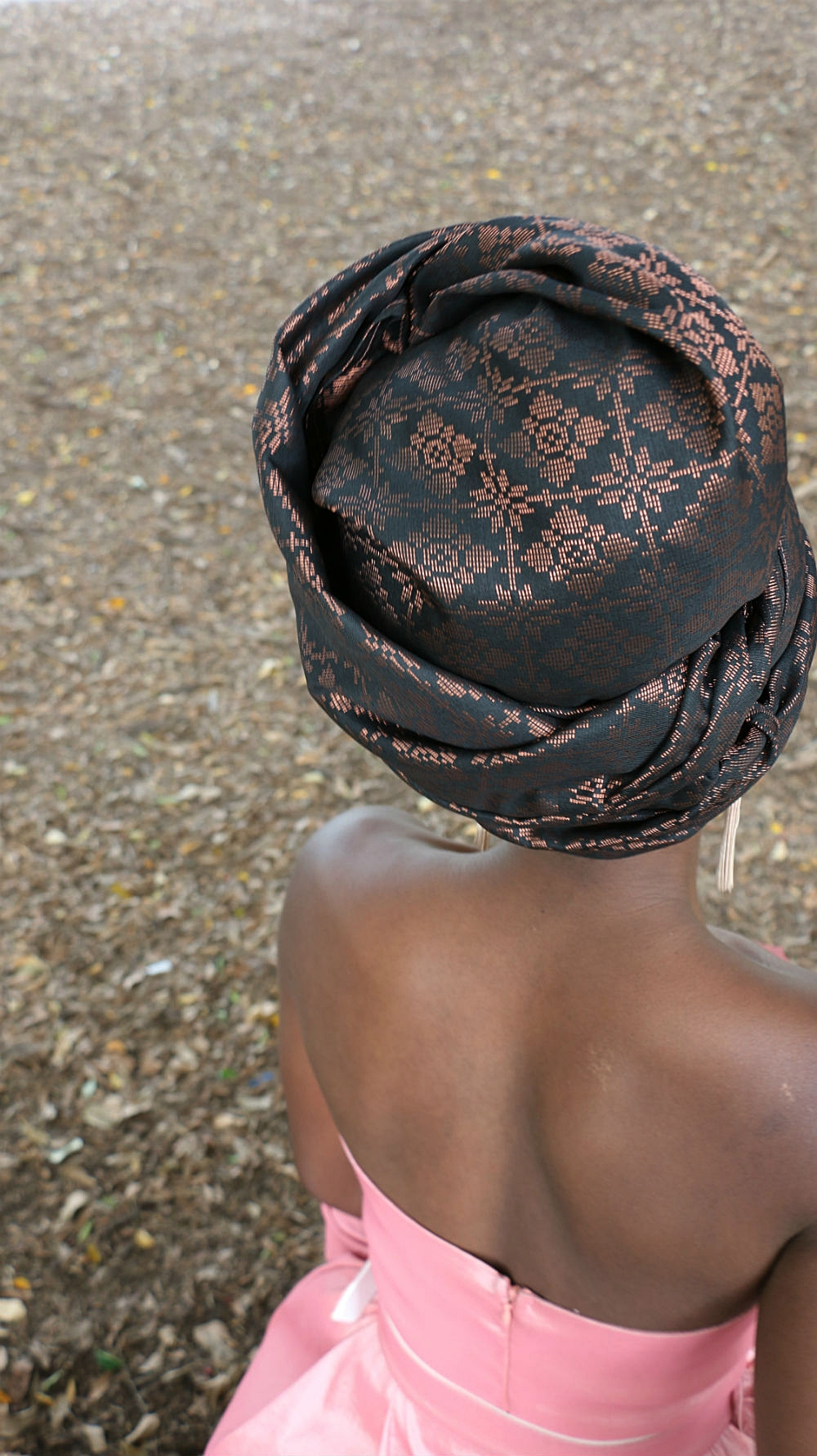 View from the top - intricately woven ROSE GOLD threads on a cotton background - we opted for the TURBAN headwrap styling technique.