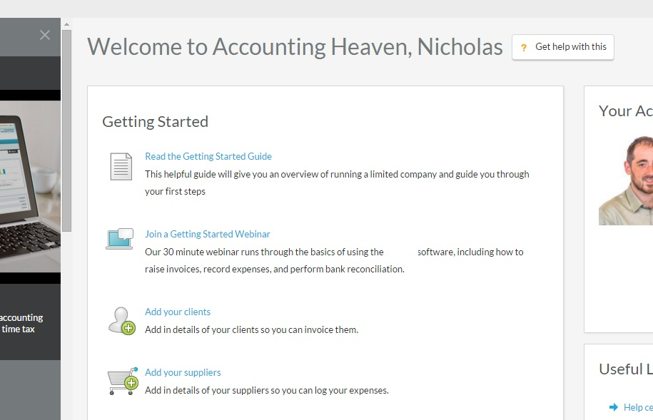 This screen greets me each time I open my online accounting software... Accounting Heaven? Then it must be because I died of frustration and boredom!