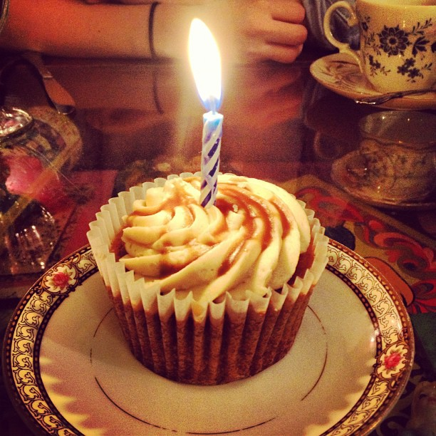 Spiced Cupcake with Salted Caramel frosting…best birthday cake ever!! #birthday!