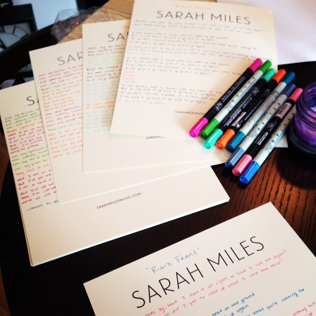 Having a lot of fun working on these handwritten lyric sheets for Kickstarter backers! ❤️ #funcolors #myhandhurts #love