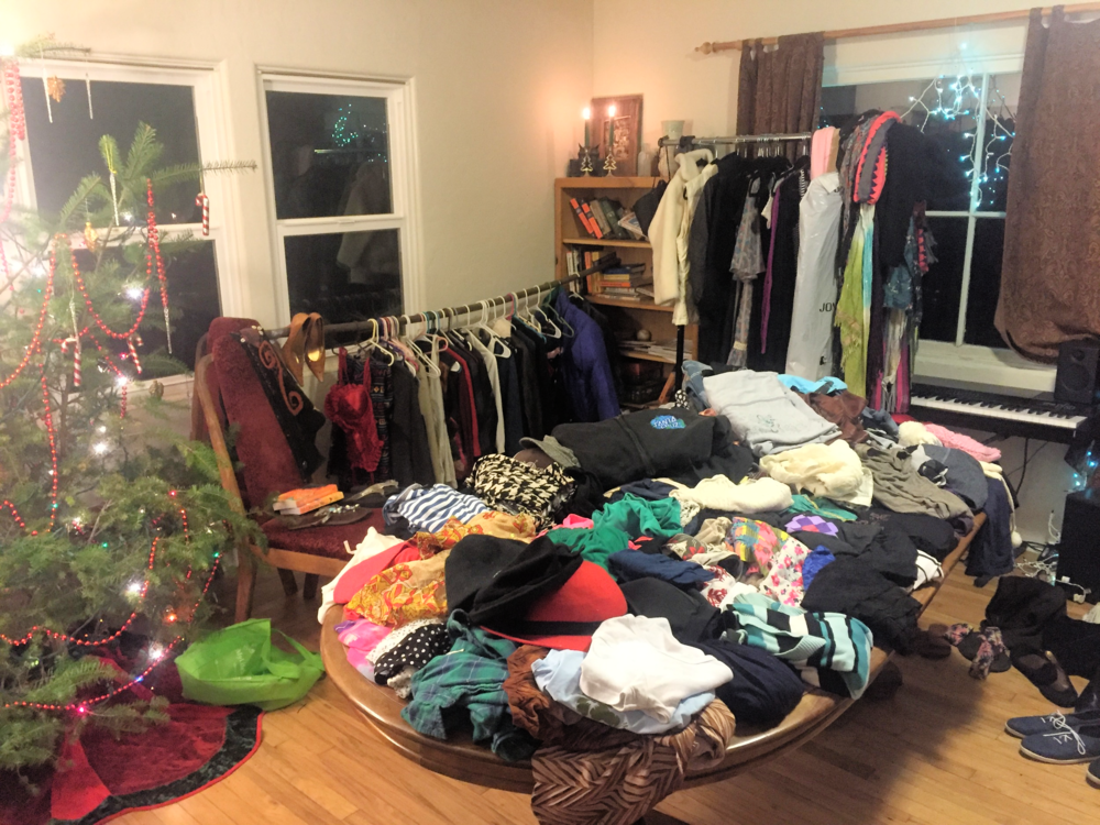 Some of the clothing from the Winter Solstice clothing swap I hosted. (Sorry for the picture quality)