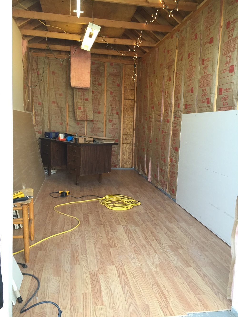 Insulation and drywall process.