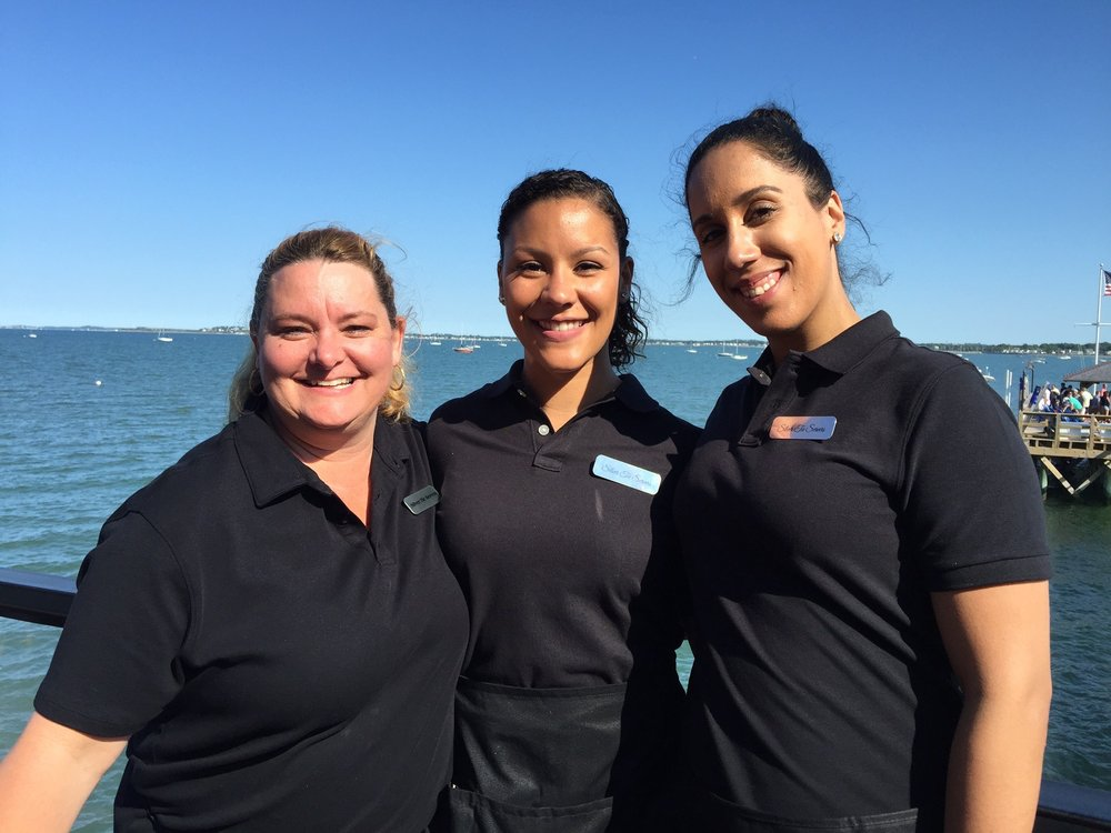 Waitstaff at a corporate luncheon at the local marina