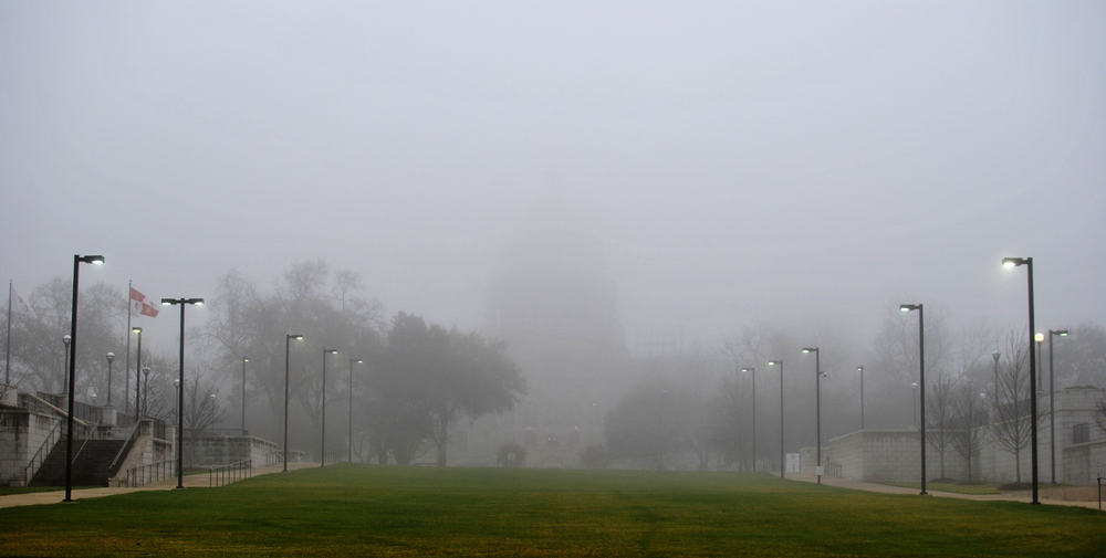 The State Capitol of Mississippi, also known as the  Shitty Decision Vortex , shrouded in Confusion.