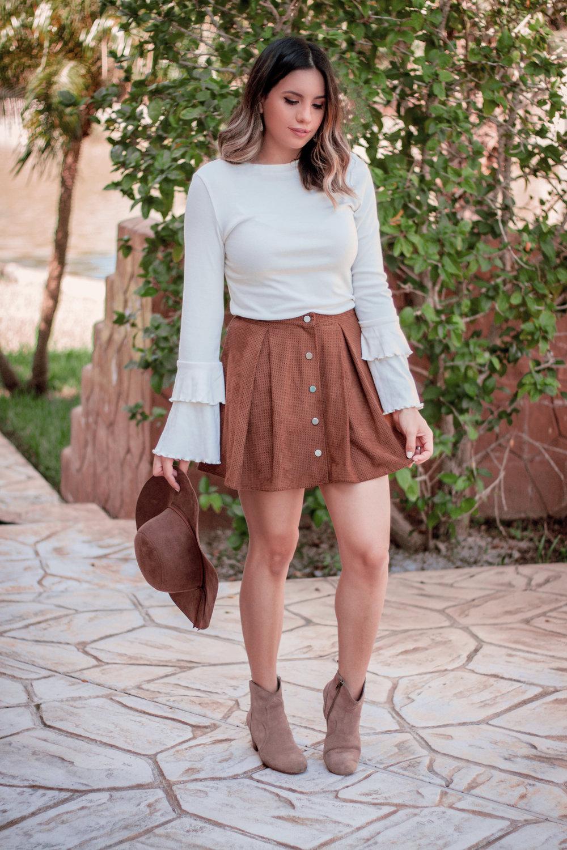 Camel Suede Skirt