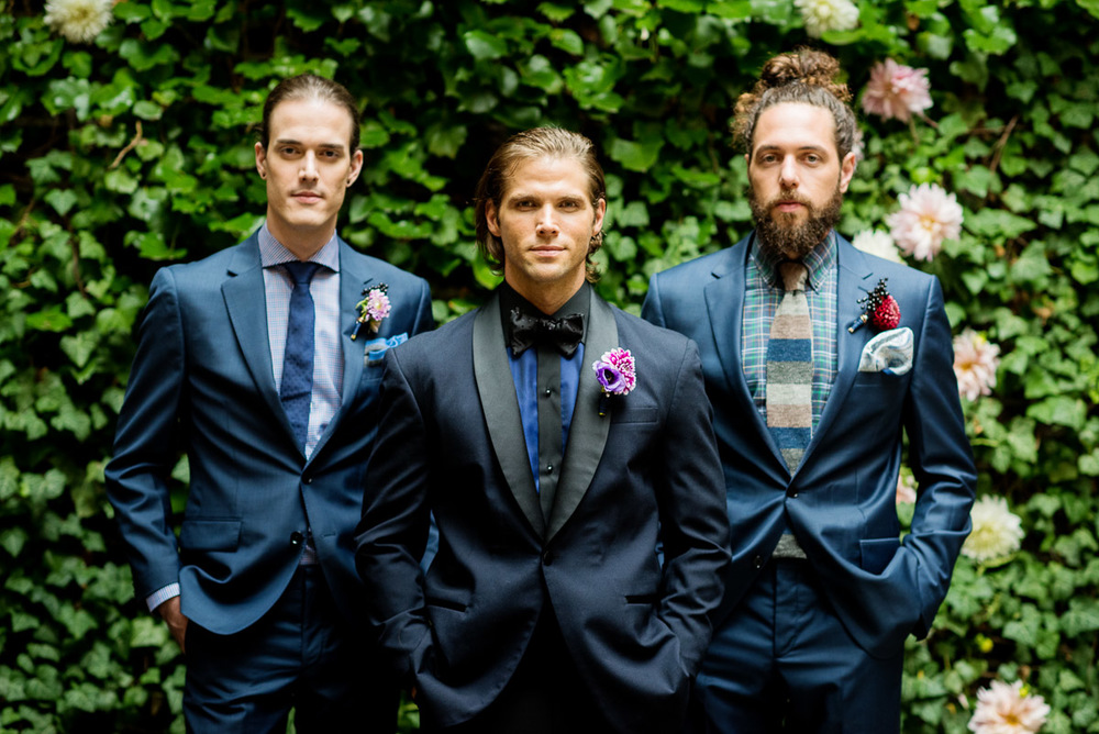 The very handsome Isaac, Dan and Kyle posing in Norwood's Garden. Shirts and Accessories by  Eton of Sweden , Florals by Jee at  Blush Designs