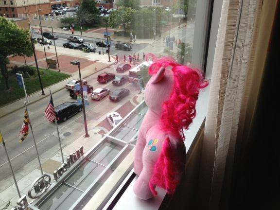 Pinkie Pie overlooks from her hotel room. (Actually, my room from last year.)