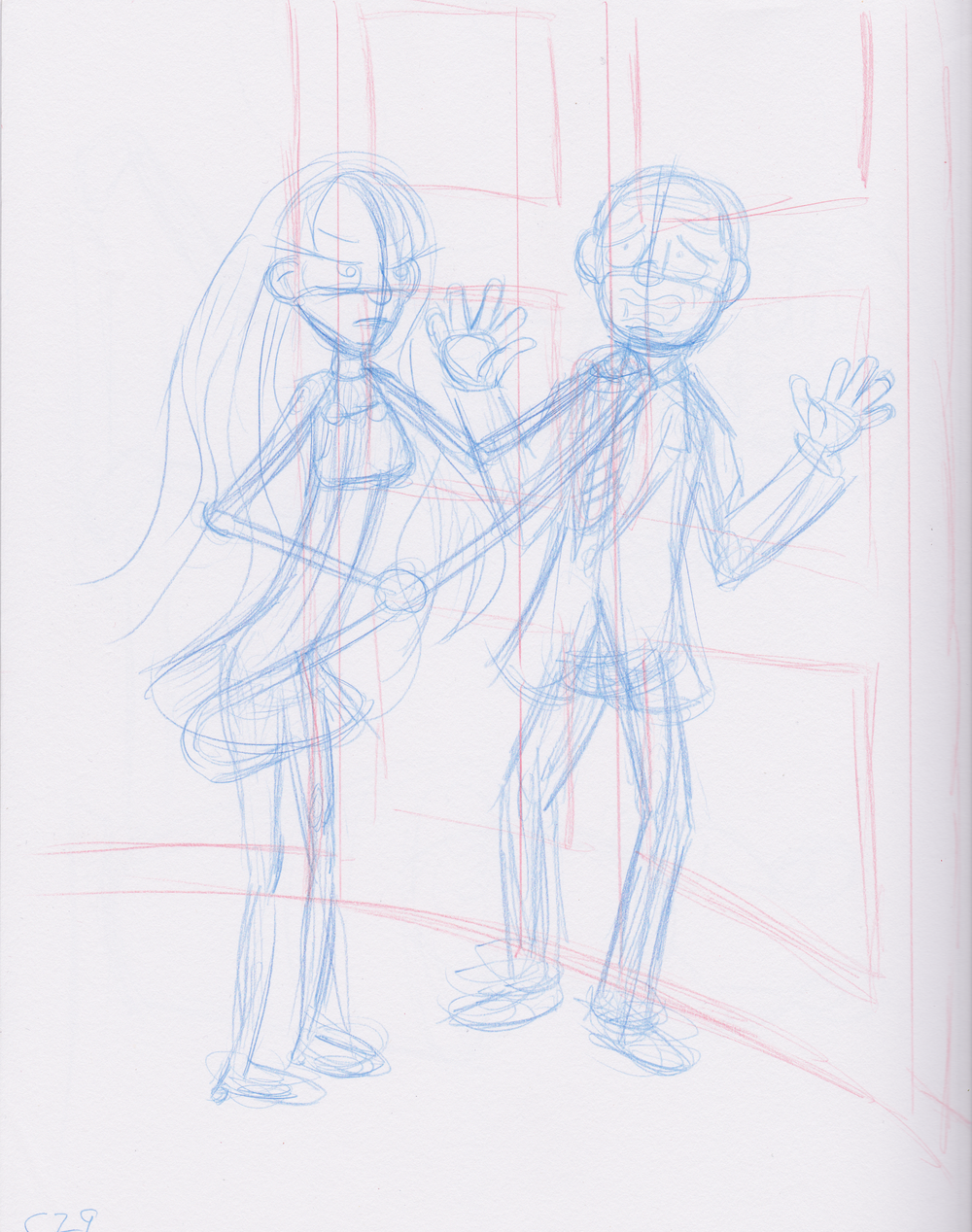 "Rough Sketch: Lister Peppermint Paula confronts Noel Carollton, the CEO of ""North Pole Incorporated"""
