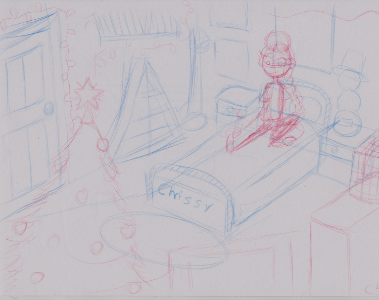 A rough sketch of Chrissy's Holly Jolly Room.