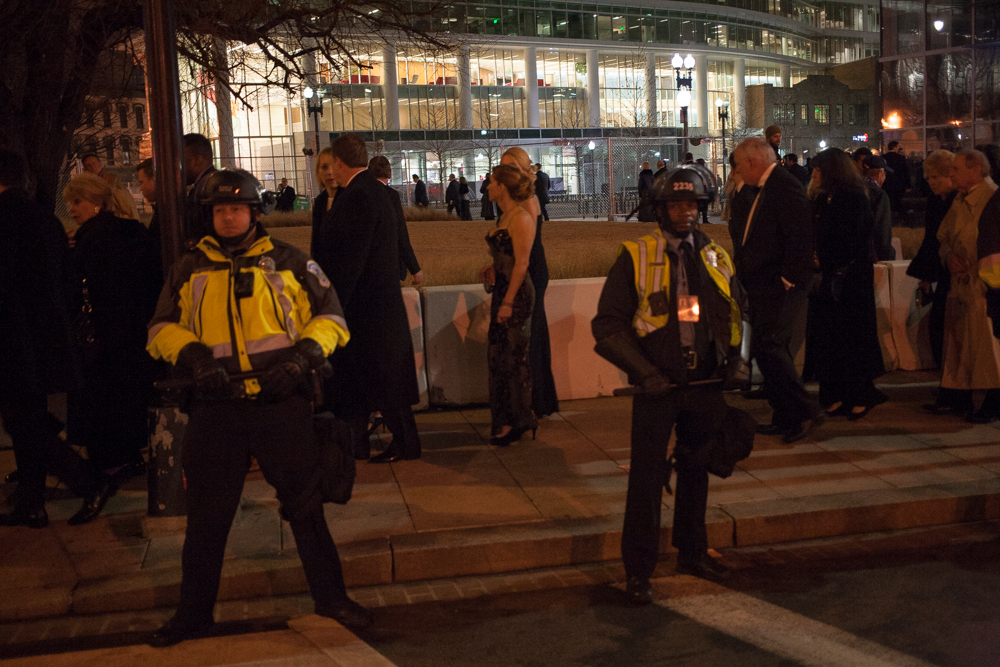 Police had a tight presence around the ball-goers.