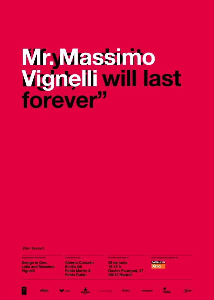 Poster del homenaje de Play Restart a Massimo Vignelli. Chapeau.