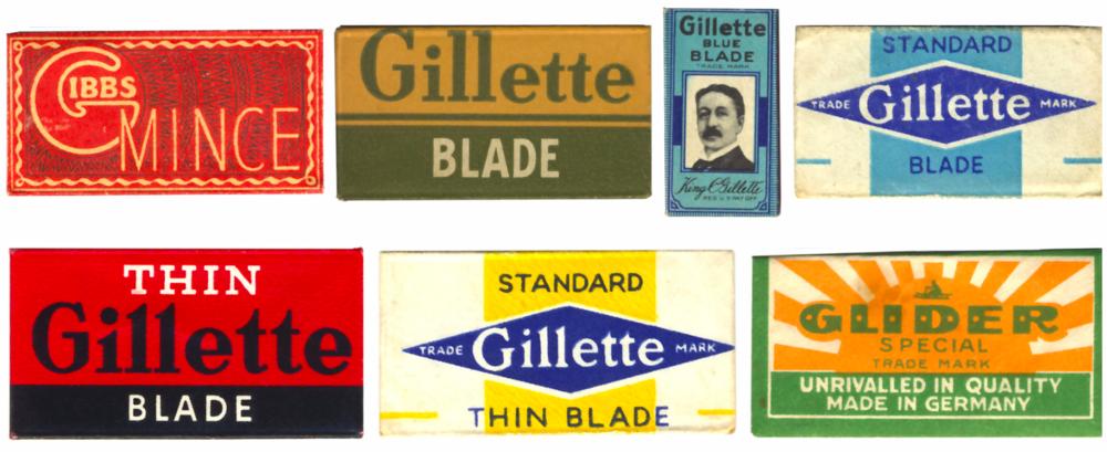 Existe en flickr una maravillosa colección de paquetes de cuchillasque merece la pena ver