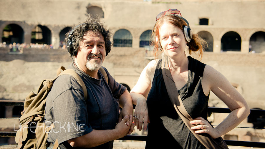 LifeHack INC writers, Francisco Salgado and Kim Campbell at the Coliseum in Rome, Italy.