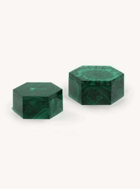 Hexagonal Malachite Boxes