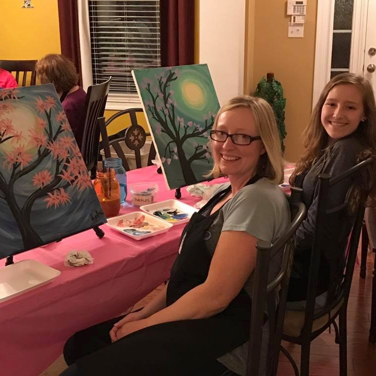 Did you know you can get creativity catered? Painting Parties are perfect for co-workers, friends, neighbors and families! This Mom and teen daughter hosted a neighborhood party. You can, too!