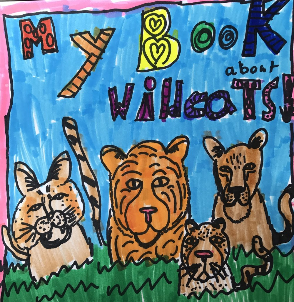 My Book About Wildcats/ 9:00-4:00 Art and Writing Cover to cover, campers during this week will learn how to write and illustrate their very own book about wildcats. With our guidance, campers will focus on daily wildcat illustrations and writing genres. Every year offers a new combination! Completed books go home on Friday afternoon. These books are wonderful keepsakes that capture a moment in time, in a unique way, that you and your child will treasure forever.  This camp includes a field trip to the Carolina Tiger Rescue for a tour to see the animals they are learning about. This is a full day camp, 9:00-4:00, M-F, only. No discounts apply to this camp week.