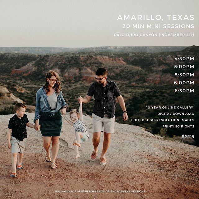 I have a few more mini sessions for AMARILLO, TEXAS