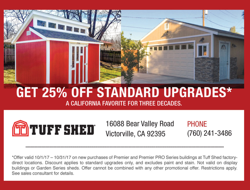 WE'RE MORE THAN GREAT SHEDS. We're Garages, Cabin Shells And Custom Structures Too. We've Been Providing Building Solutions Since 1981–Creating Hundreds Of Thousands Of Buildings And Happy Customers Along The Way. We offer a good-better-best selection of storage buildings to accommodate different needs and budgets. Choose a standard ranch, barn, lean-to or loafing shed model or design a custom configuration. Either way, we can make your dream shed a reality.  $500 off sheds and up to $2000 off on garages. High Desert Sheds, Apple Valley Sheds, Victorville Sheds, Hesperia Sheds, Oak Hills Sheds.