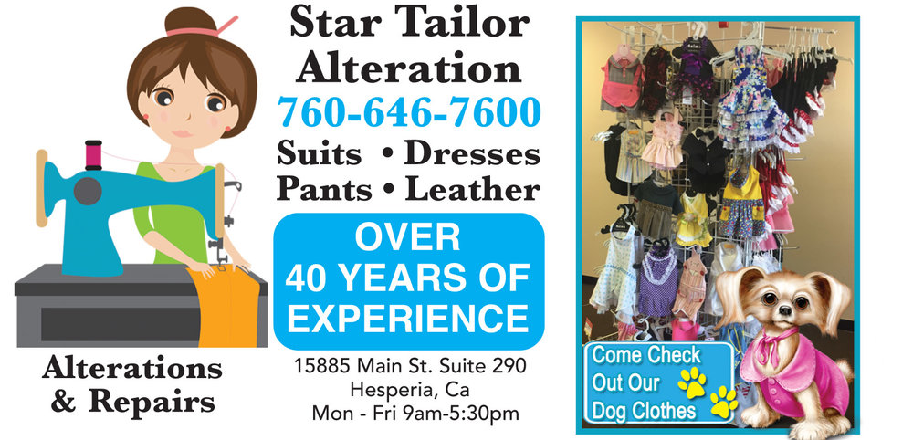 Star Tailor Alterations. Over 40 years experience.  High Desert Alterations, Hesperia Alterations, Oak Hills Alterations, Victorville Alterations, Apple Valley Alterations.