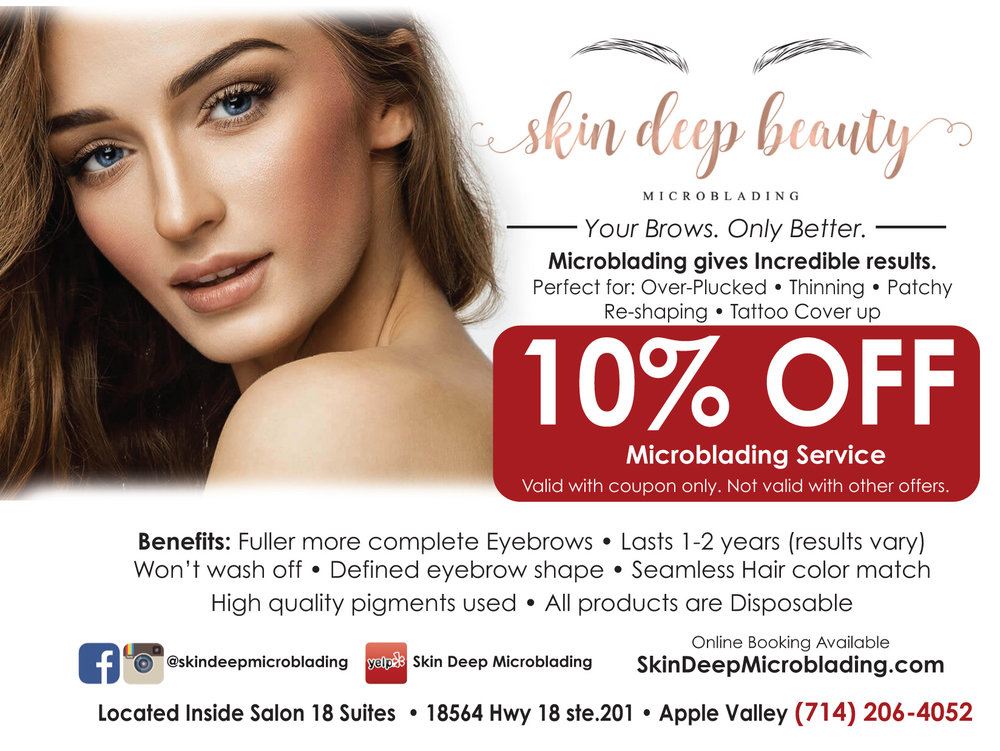 Microblading is perfect for Over-Plucked, thinning, patchy, Re-shaping and Tattoo Coverup.  Fuller more complete eyebrows that last 1-2 years. Won't wash off.  High Quality Pigments used.  High Desert Microblading, Hesperia Microblading, Apple Valley Microblading, Oak Hills Microblading, Victorville Microblading, Helendale Microblading, Phelan Microblading,