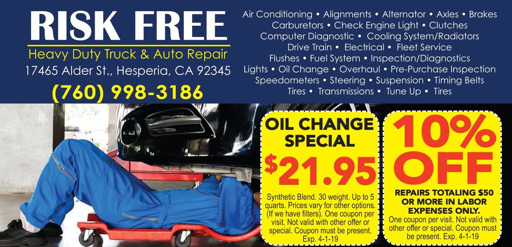 Complete full services and repairs on light and heavy duty vehicles.  Reasonable Repair Rates.  High Desert Truck and Auto Repair, Apple Valley Truck and Auto Repair, Hesperia Truck and Auto Repair, Oak Hills Truck and Auto Repair, Victorville Truck and Auto Repair, Helendlae Truck and Auto Repair, Phelan Truck and Auto Repair.