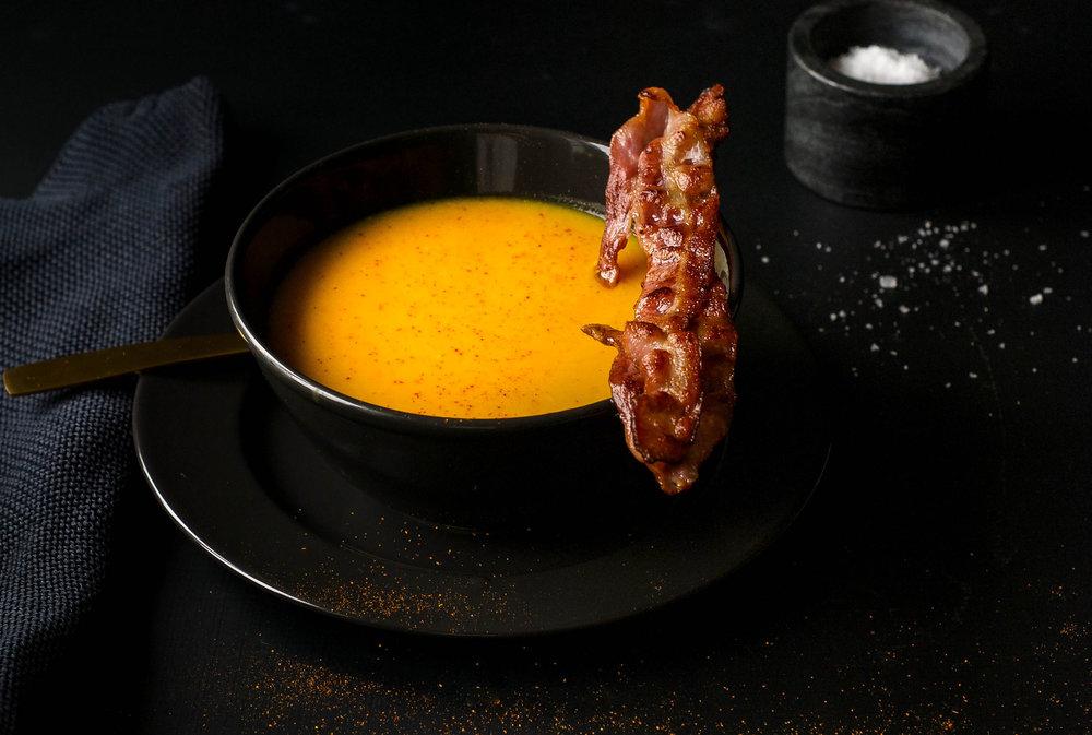Gulrotsuppe med bacon.