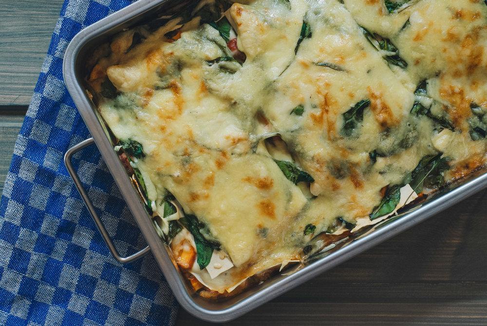 Lasagne på fredagskvelden . Kosemat kan også ha mye grønnsaker.