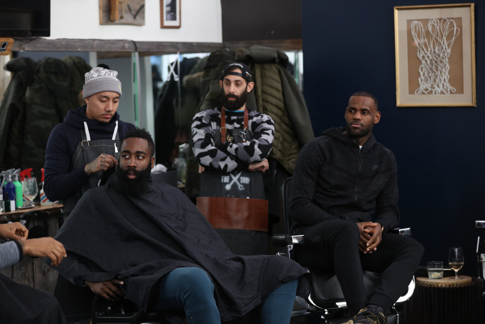 James Harden & Lebron James at The Shop