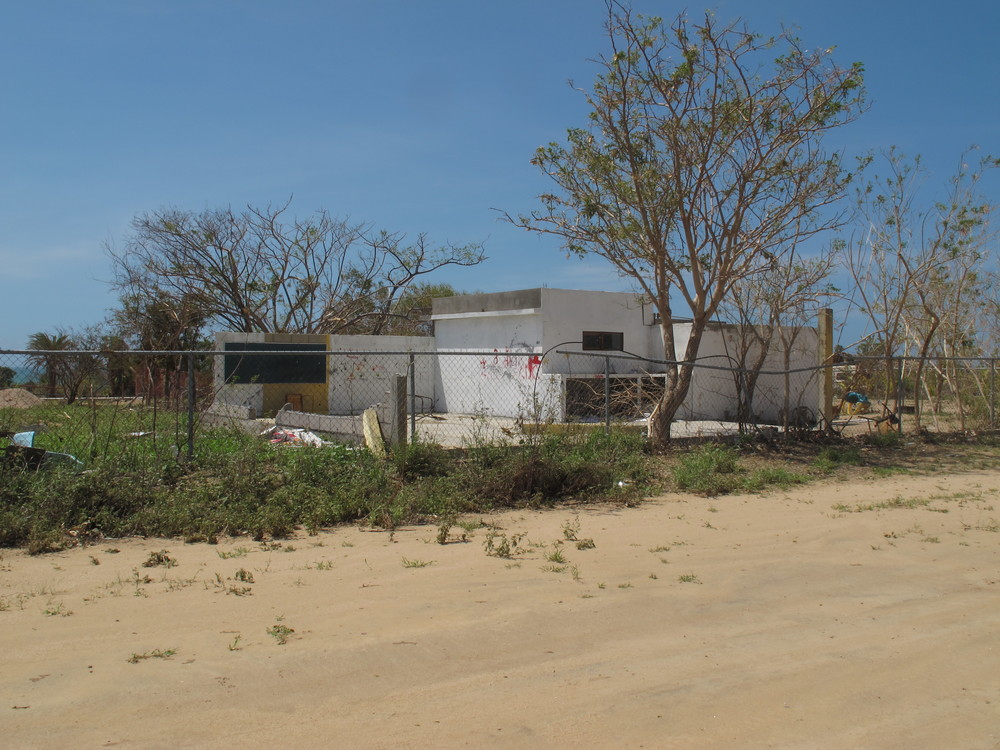 This is the school after the hurricane. One wall and the roof were destroyed.