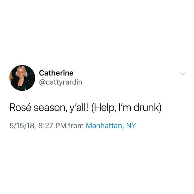 Rosé lovers don't let rosé lovers drink alone. But even if @cattyrardin isn't alone, we should probably make sure... #dontdrinkalone #winewednesday #rosémademedoit #roséseason 🌹🍷