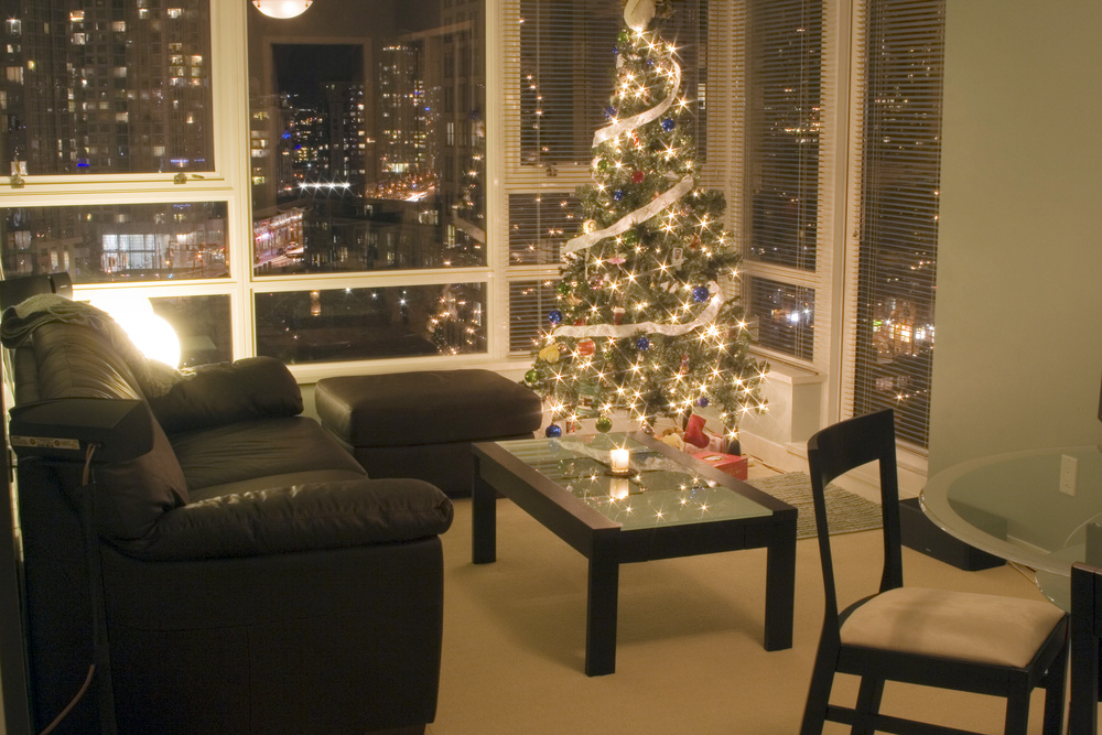 condominium decorated for christmas