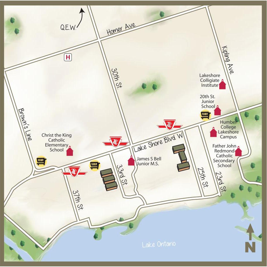 illustrated map of 25th street area toronto main streets