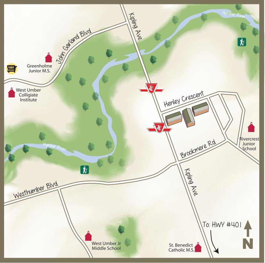 illustrated map of henley cres area toronto main streets