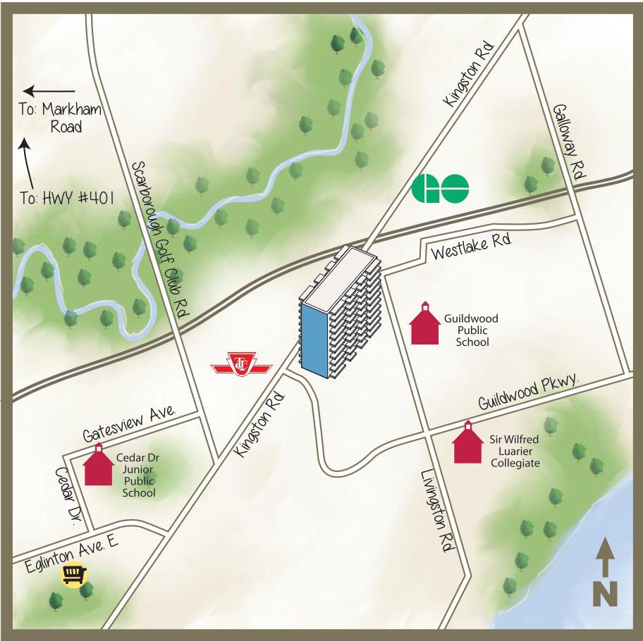 illustrated map of kingston road area toronto main streets