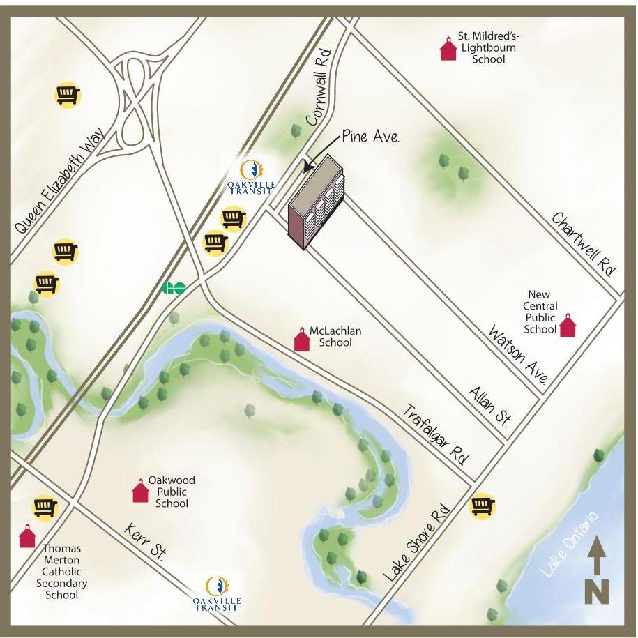 illustrated map of pine street area oakville main streets